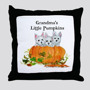 Grandma's Westie Pumpkin Puppy Dogs Throw Pillow