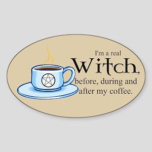 Coffee Witch Oval Sticker