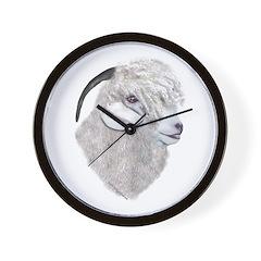Angora Goat Portrait Wall Clock