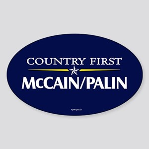 Country First - McCain Palin Oval Sticker
