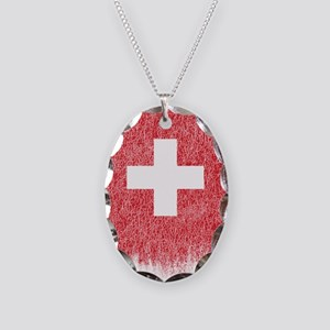Swiss Flag Shirt Switzerland F Necklace Oval Charm