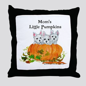 Mom's Westie Pumpkin Puppy Dogs! Throw Pillow