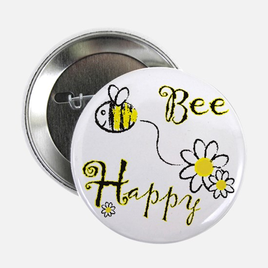 """Funny Bee happy 2.25"""" Button"""