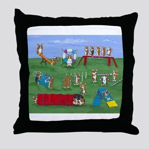 Agility Corgis Gone Wild! Pem Throw Pillow