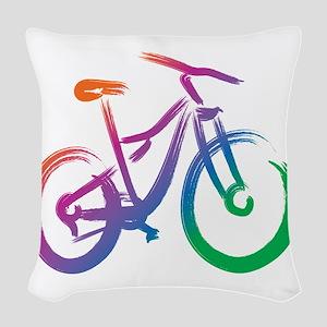 Vivid Mountain Bike Woven Throw Pillow