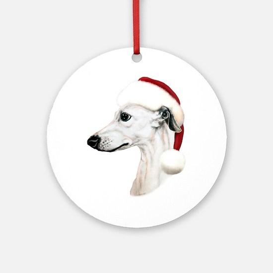 White Whippet Santa Ornament (Round)