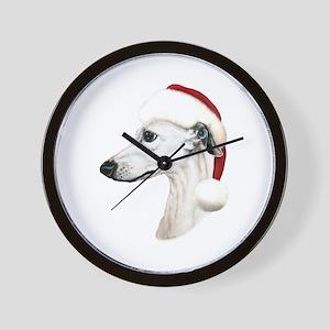 White Whippet Santa Wall Clock