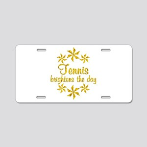 Tennis Brightens the Day Aluminum License Plate