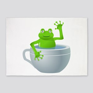 Funny Unexpected Frog In My Tea Cup 5'x7'a