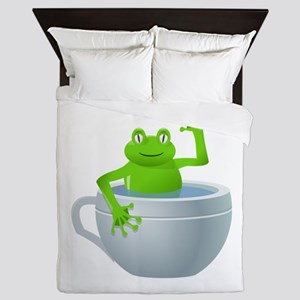 Funny Unexpected Frog In My Tea Cup Queen Duvet
