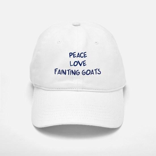 Peace, Love, Fainting Goats Baseball Baseball Cap