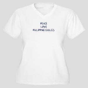 Peace, Love, Philippine Eagle Women's Plus Size V-