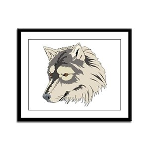 Lone Wolf Head Framed Panel Print