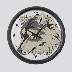 Lone Wolf Head Large Wall Clock