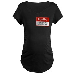 Obama Supporter Name Tag Maternity Dark T-Shirt