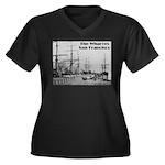 The Wharves Women's Plus Size V-Neck Dark T-Shirt