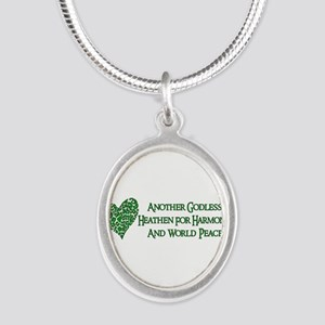 Godless Heathen For Peace Silver Oval Necklace