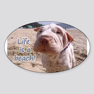 Life Beach Oval Sticker