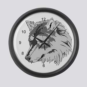 Lone Wolf Head 2 Large Wall Clock