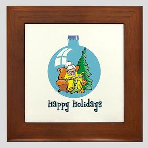 Stocking Knitter - Happy Holi Framed Tile