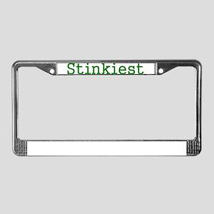 Stinkiest Green Text License Plate Frame