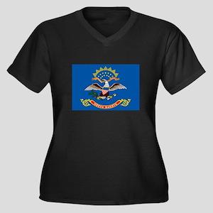 North Dakota Women's Plus Size V-Neck Dark T-Shirt