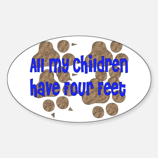 Four-Footed Children Oval Decal