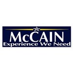 McCain, Experience We Need Bumper Sticker