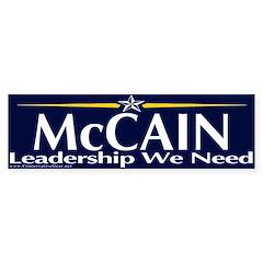 McCain Leadership We Need Bumper Bumper Sticker