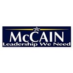 McCain Leadership We Need Bumper Sticker