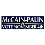 McCain-Palin Vote Nov. 4th Bumper Sticker