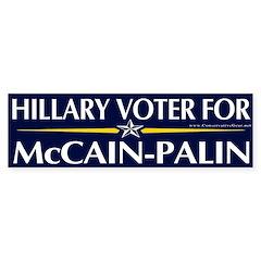 Hillary Voter for McCain-Palin Bumper Bumper Sticker