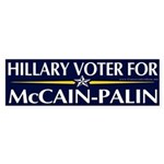 Hillary Voter for McCain-Palin Bumper Sticker