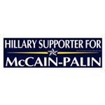 Hillary Supporter for McCain-Palin Sticker Bumper