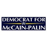 Democrat for McCain-Palin Bumper Sticker
