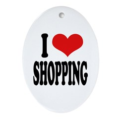 I Love Shopping Oval Ornament