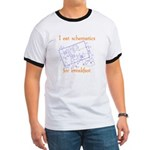 HamTees.com I Eat Schematics Ringer T