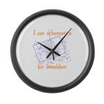 HamTees.com I Eat Schematics Large Wall Clock