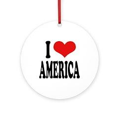 I Love America Ornament (Round)