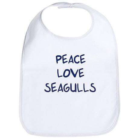 Peace, Love, Seagulls Bib