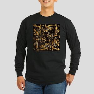 vintage floral gold ornament Long Sleeve T-Shirt