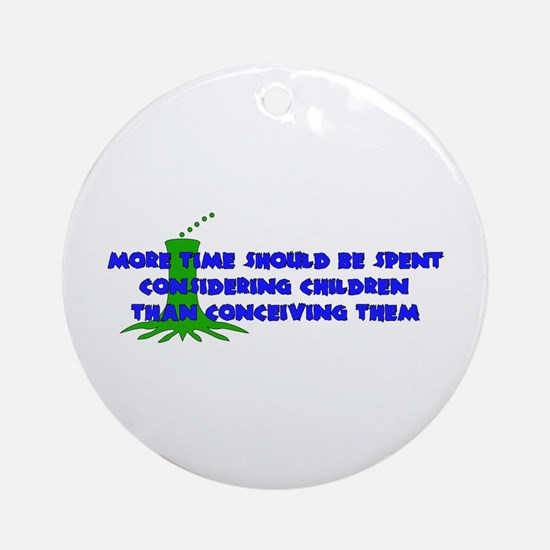 Think More Breed Less Ornament (Round)