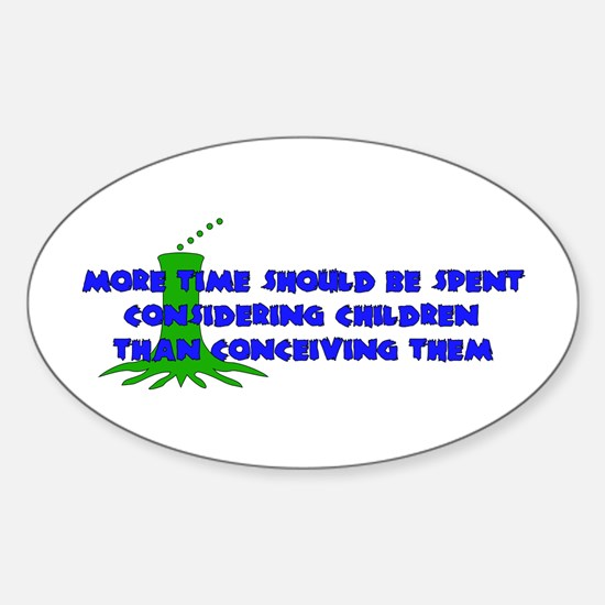 Think More Breed Less Oval Decal