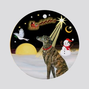 NightFlight/Brindle Greyhound Ornament (Round)