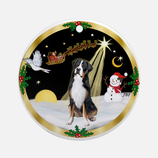 NightFlight/ Greater Swiss Mt Dog Ornament (Round)