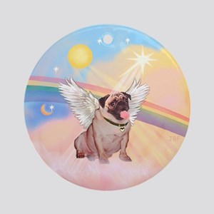 Clouds/ Pug #2 Angel Ornament (Round)