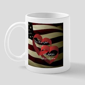 Love and Freedom with Flag Mug