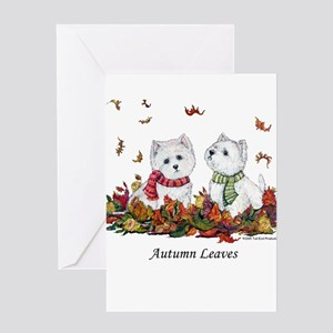 West Highland White Terrier Leaves Greeting Card