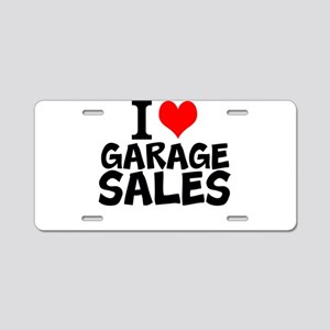 I Love Garage Sales Aluminum License Plate