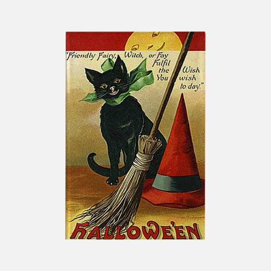 Halloween Black Cat, Broom and Hat Rectangle Magne